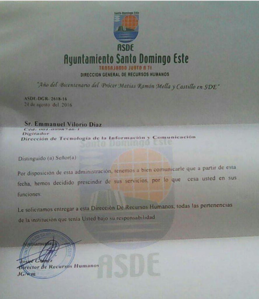 Carta entregada a una de las víctimas de las cancelaciones en el ASDE