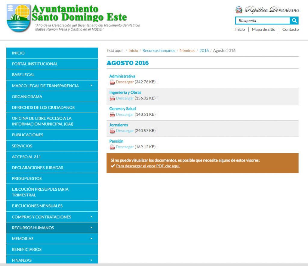 Esta es una imagen del sitio web del ASDE desde el cual se accedía a la nómina con todos los pagos incorrectos.