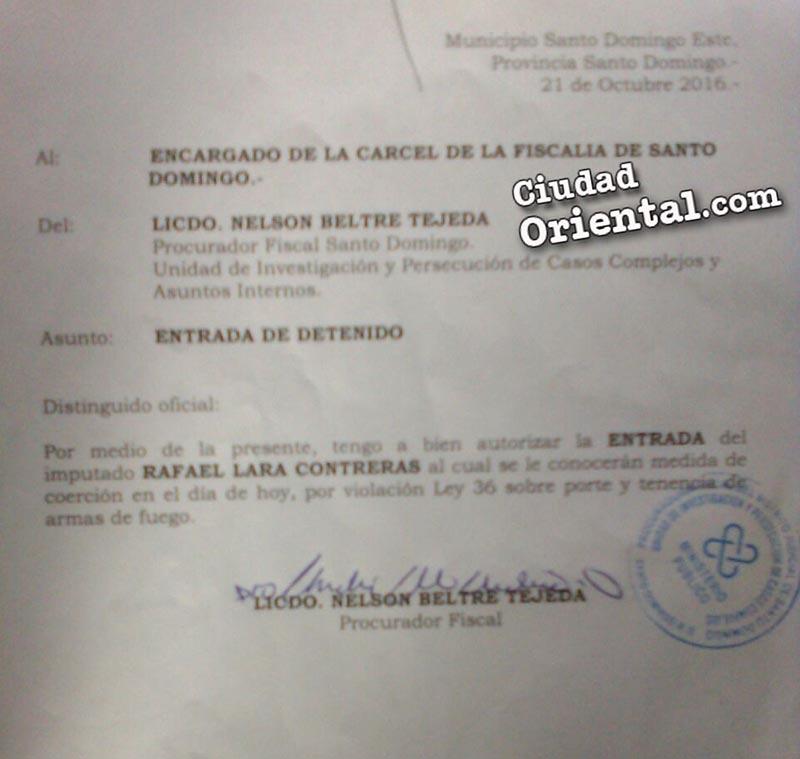 Orden de entrada a la cárcel de San Luis