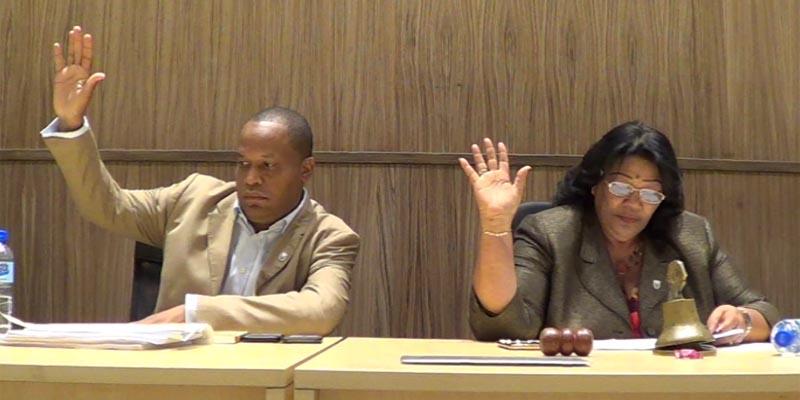 El Vice Presidente y la Presidenta del Concejo de Regidores, Felito Rodriguez y Ana Tejeda, respectivamente, votan