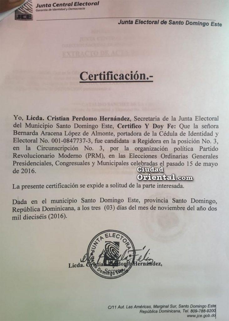Certificación entregada a Bernarda Aracena