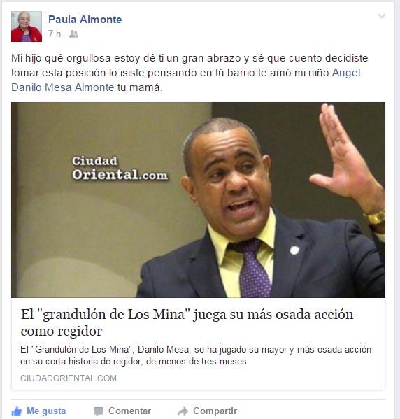 Mensaje en FaceBook de Paula Almonte a su hijo Danilo Mesa