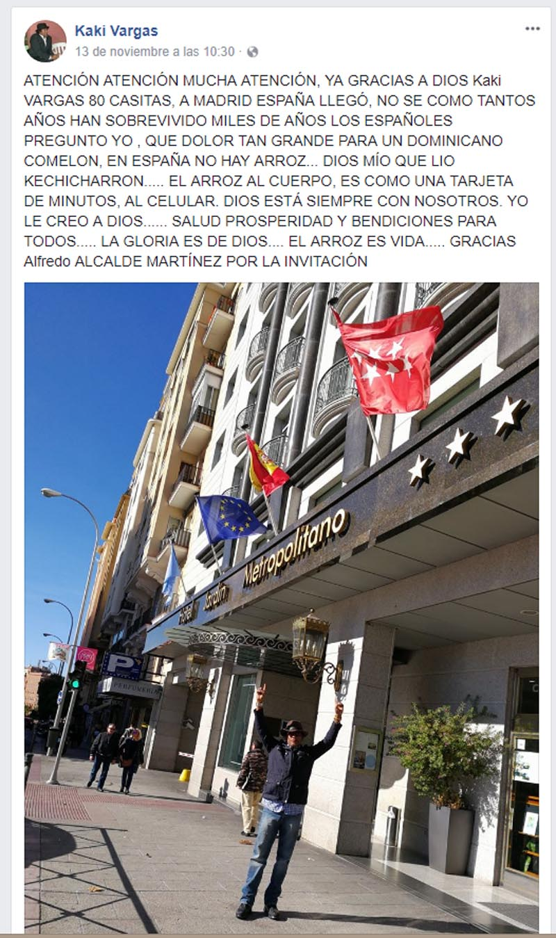 Kaki Vargas en Madrid, invitado por el alcalde de SDE, Alfredo Martínez