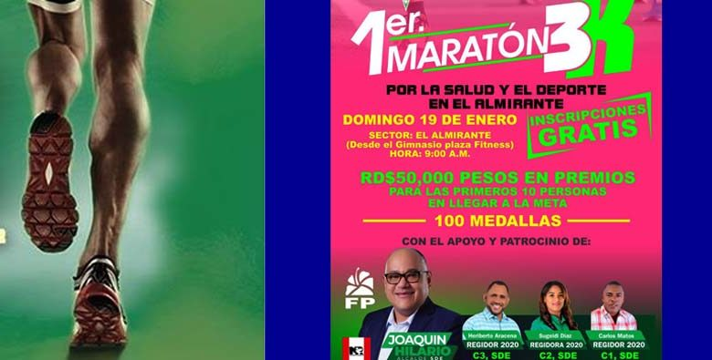 El Primer Maratón 3K iniciará a la nueve de la mañana y serán entregados 50 mil pesos en premios.