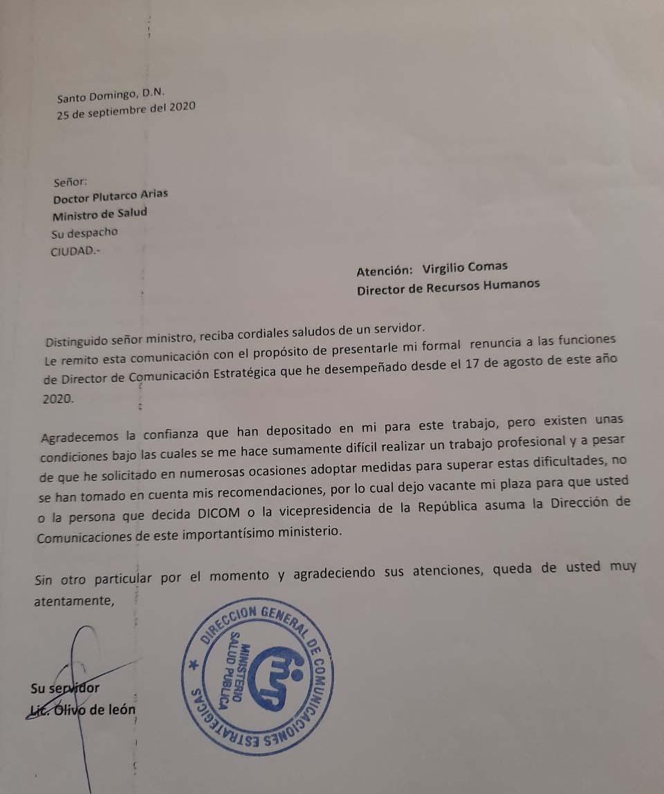 Carta de Olivo de León que no ha sido depositada en el Ministerio de Salud Pública