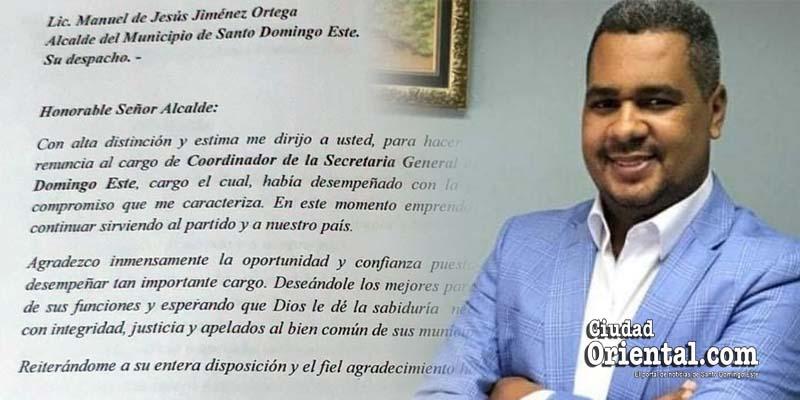 Erick Guzmán y su carta de renuncia depositada el dia uno de septiembre del 2020