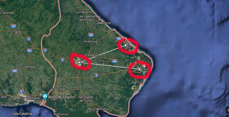 Las marcas rojas señalan a Higüey, Punta Cana y Bávaro