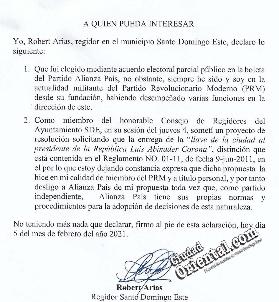 Comunicación en la que Robert Arias aclara que no pertenece a Alianza País, sino al PRM