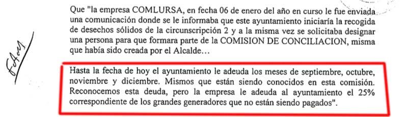 Captura de pantalla del documento de Manuel Jimpenez a los regidores en la que admite, en enero pasado, que no le pagaba a COMLURSA los meses de septiembre, octubre, noviembre ni diciembre